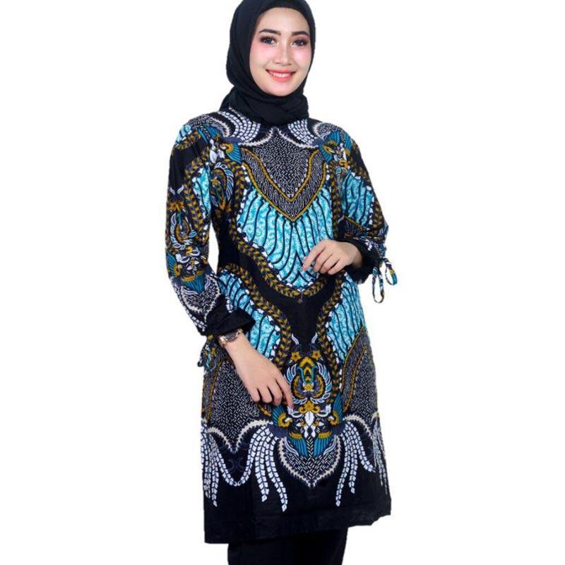 Batik Prass Modern Tunik Batik Wanita Black Blue
