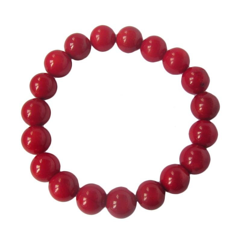 Ansor Silver Coral Gelang - Red [10 mm]