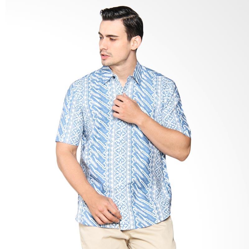 Blitique Asana Liris Slim Fit Kemeja Batik Pria - Blue 2B