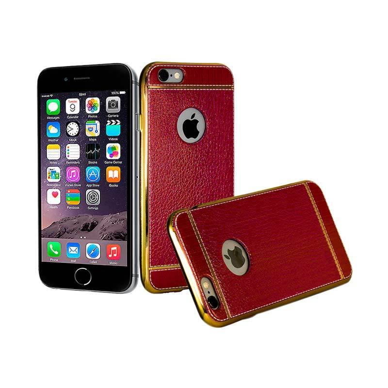 Luxury Leather Chrome Softcase Casing for iPhone 6 - Red