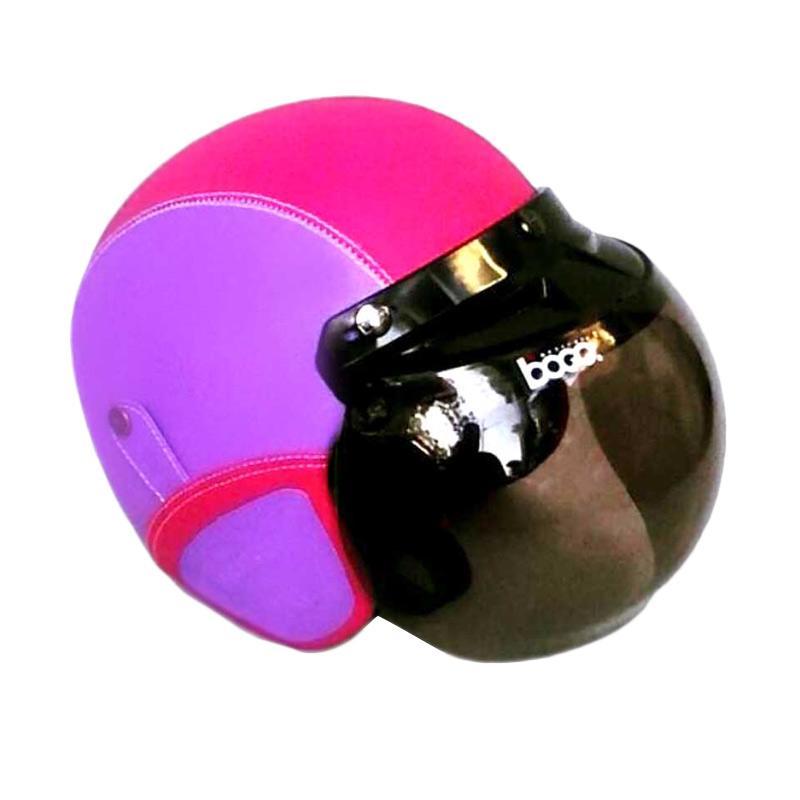 harga JBX Helmet Retro Kulit Kaca Bogo Original Helm Half Face - Ungu Pink Blibli.com