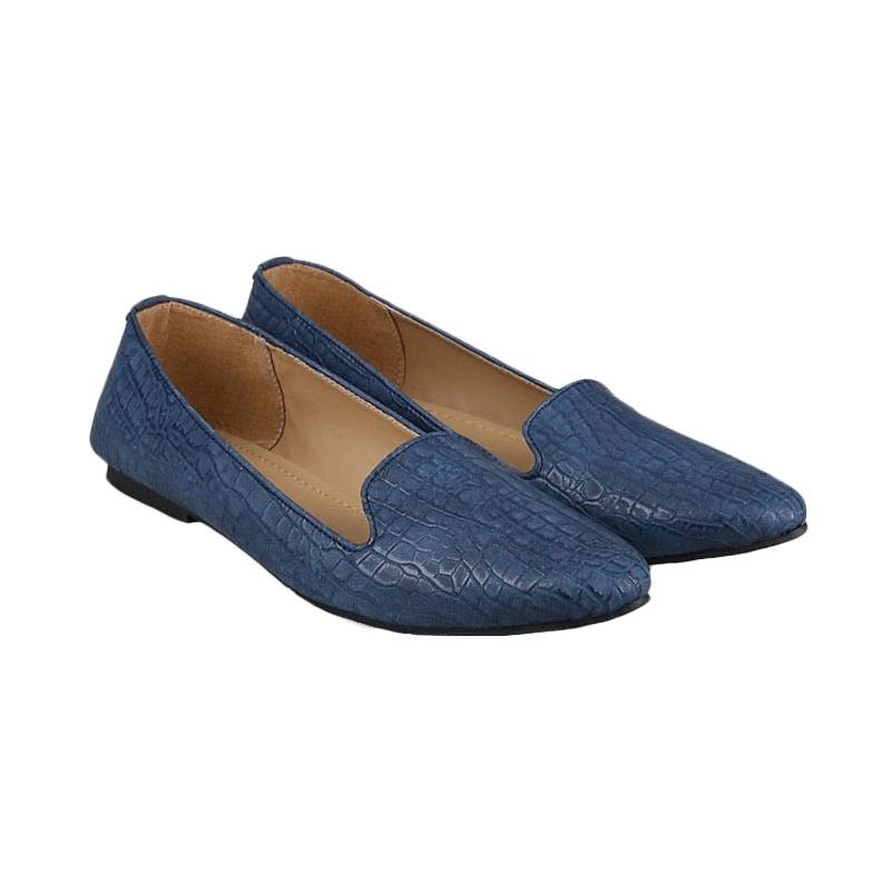 GIA Saffiano Flats Blue Croco