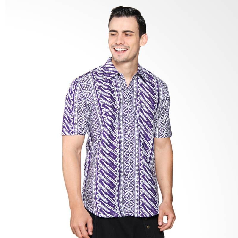 Blitique Asana Liris Slim Fit Kemeja Batik Pria - Purple 2C