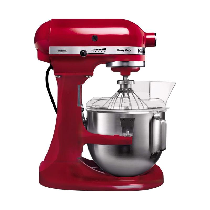 KitchenAid 5KPM5EER Heavy Duty Bowl Lift Stand Mixer + [KitchenAid Stand Mixer Cookbook + Food Choper Pink + Food Grinder Atch + Grain Mill Atch]