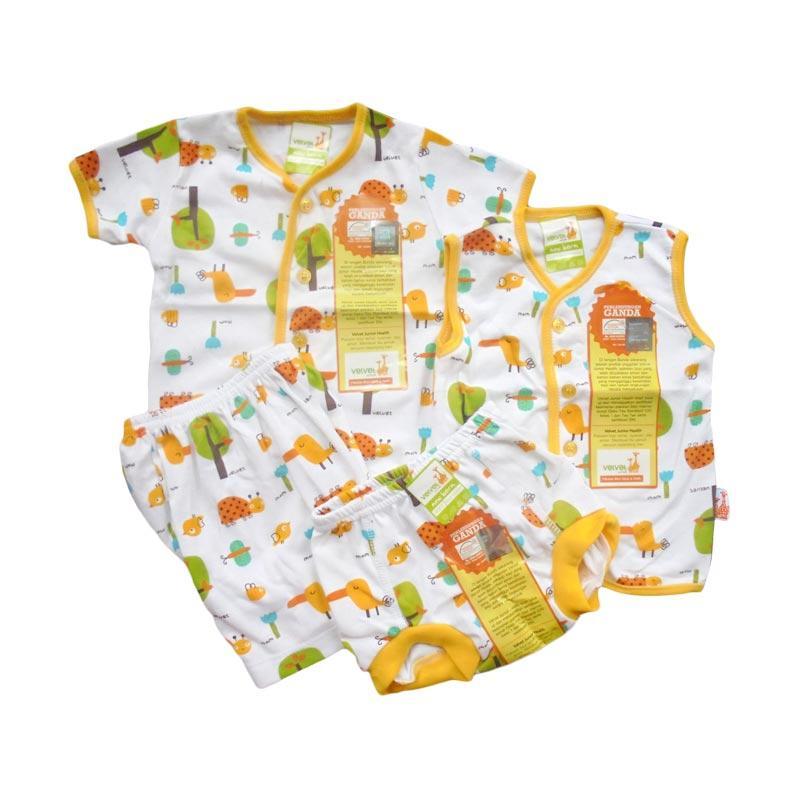 Velvet Junior Motif Tucano Paket Setelan Kancing Depan Newborn Setelan Anak - Yellow