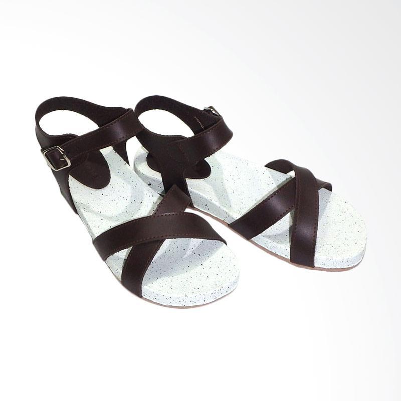 Aerilyn Tinker X Sandal Flat Wanita - Brown