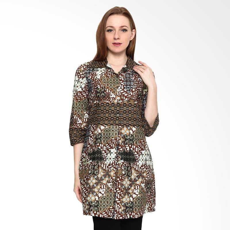 A&D Fashion MS 794 Tunic 34 Sleeve Blouse Batik - Brown