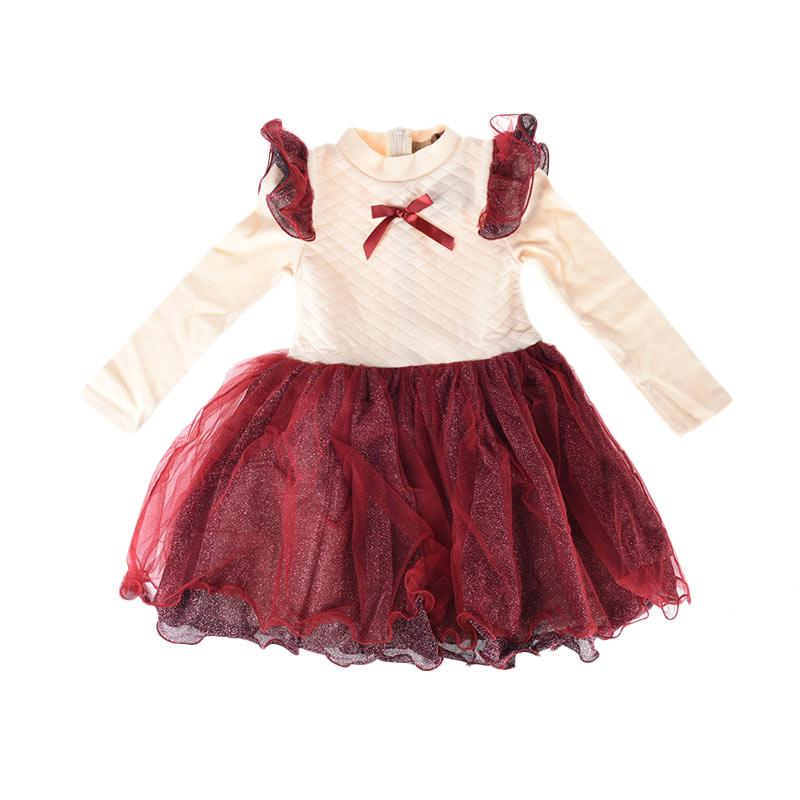 Cabriole 090 Adel & Audrey Dress Anak - White Maroon