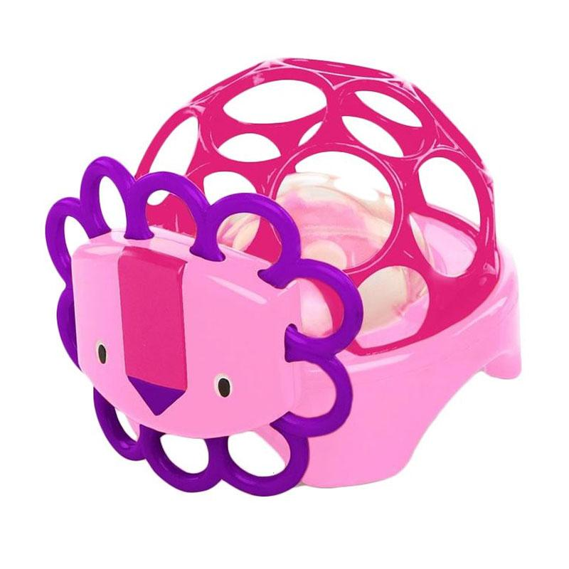 Oball Rollie Rattle Lion Mainan Anak - Pink