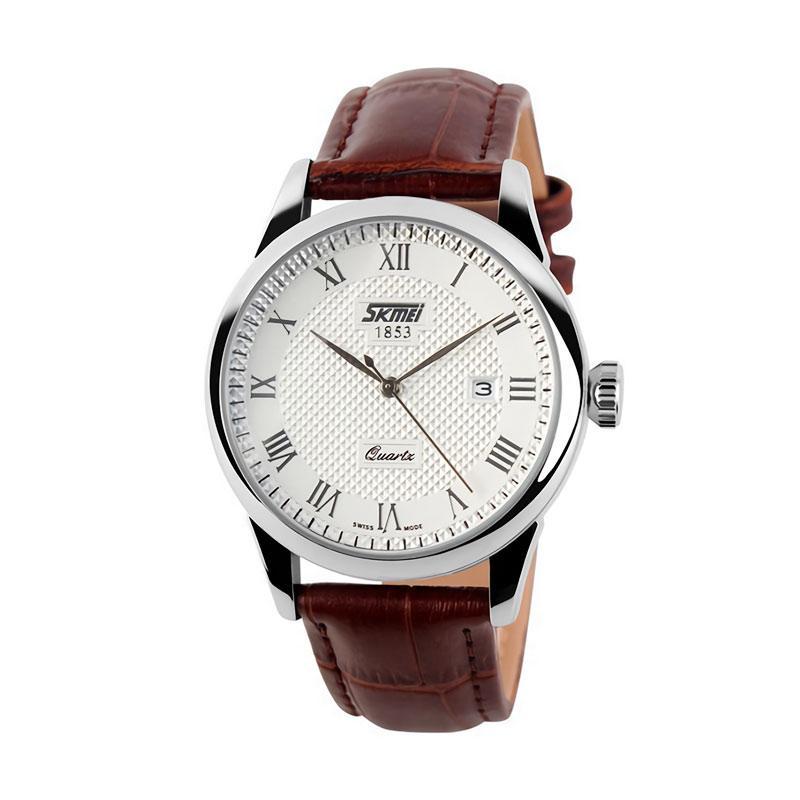 Skmei - Jam Tangan Pria - Silver - Brown Leather Strap - 9058-C