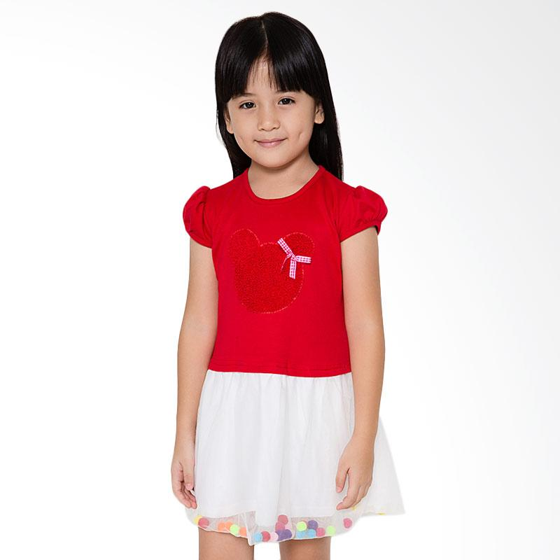 4 You Tile Midi Dress Anak - Merah
