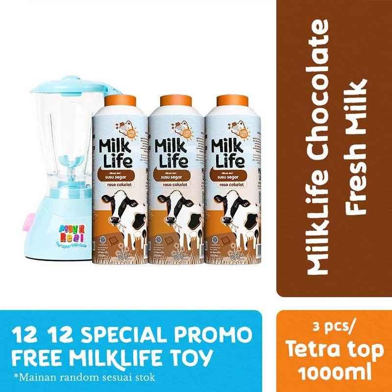 MilkLife Fresh Milk Cokelat 1000 mL 3 Pcs Free Milklife Toy
