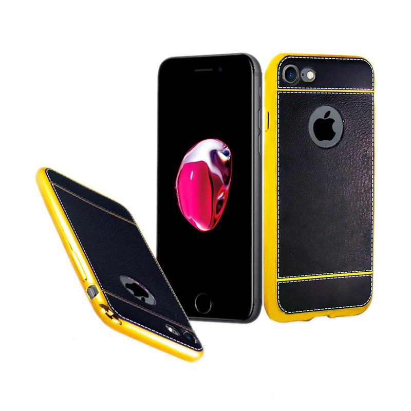 Fashion Luxury Leather Chrome Softcase Casing for iPhone 7 - Black