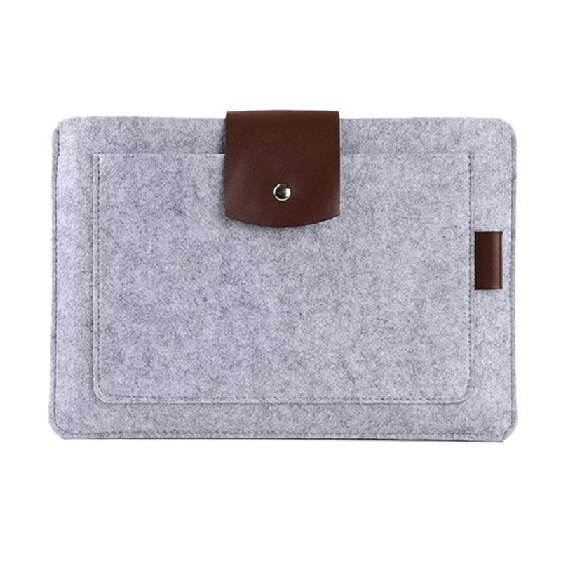 Cooltech Premium Soft Wool Felt Sleeve Case Notebook Cover for Macbook 15 Inch - Grey