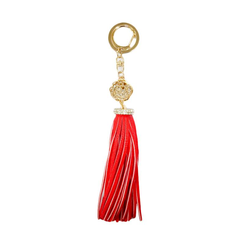 SIV KPD04 Leather Kulit L with Diamond Key Chain - Red