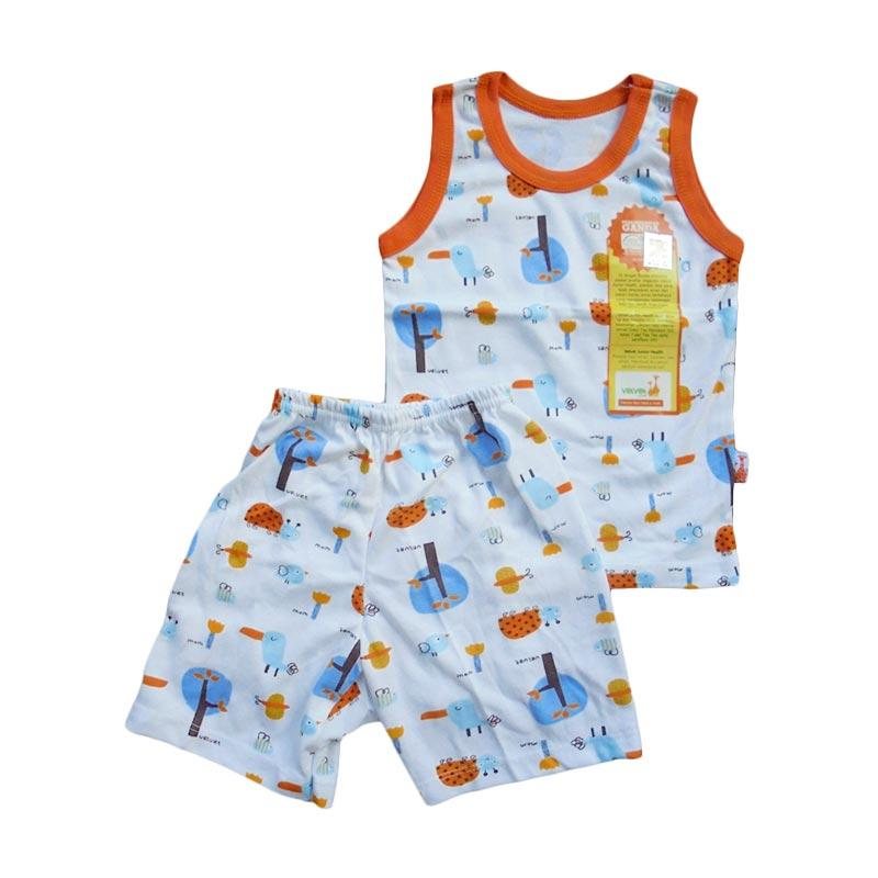 Velvet Junior Motif Tucano Sleeveless Setelan Baju Tidur Anak - Orange
