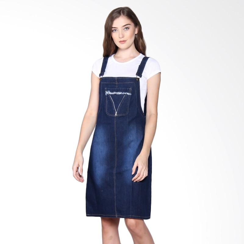 Miracle Online Shop Triani Overall Jeans Dress Pendek Jumpsuit - Biru Tua
