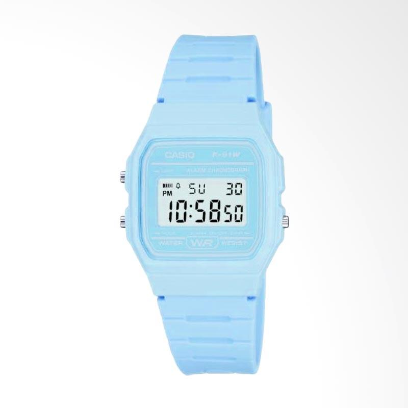 CASIO Pastel Blue Digital Watch Jam Tangan Pria - Blue F-91WC-2AEF