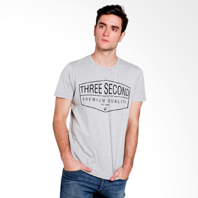 3SECOND Men T-shirt Atasan Pria - Grey