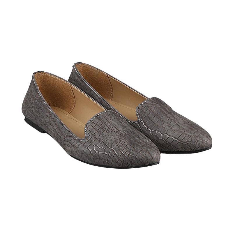 GIA Saffiano Flats Grey Croco