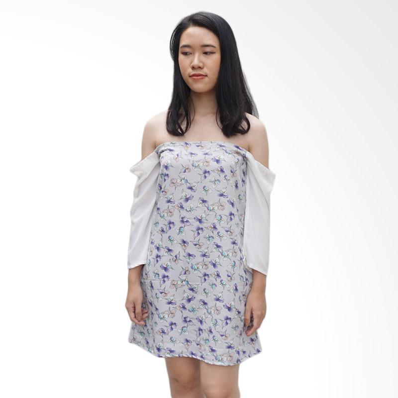 KULO Off Shoulder Floral Cape Dress