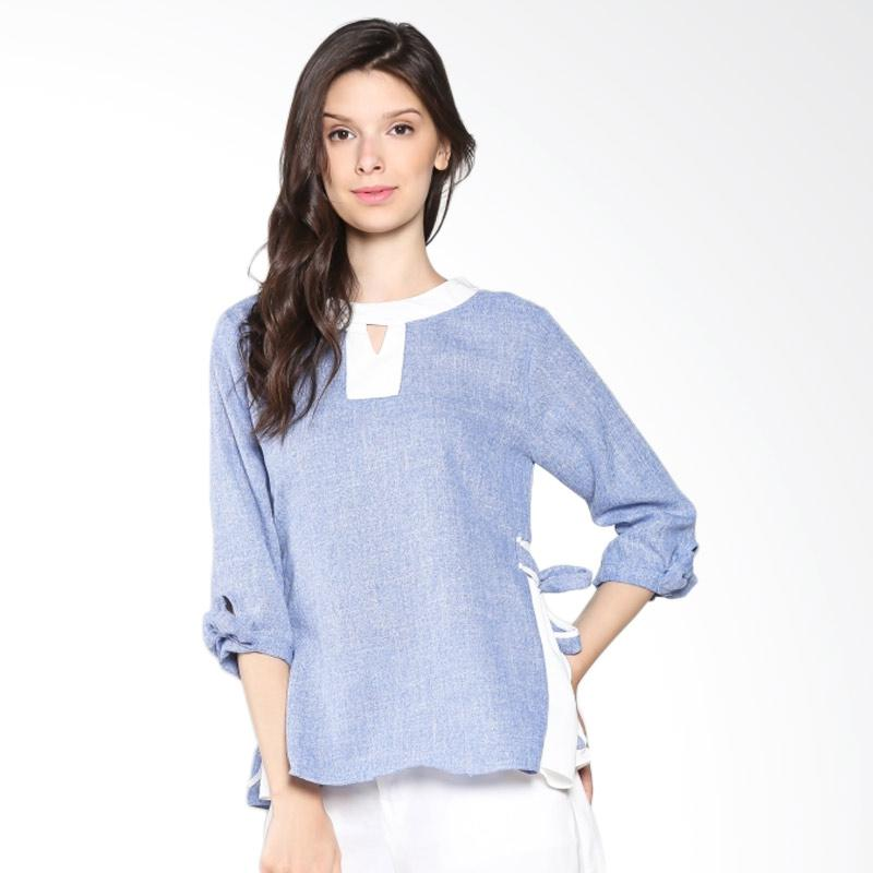 Carte Keyhole Top Blouse - Blue