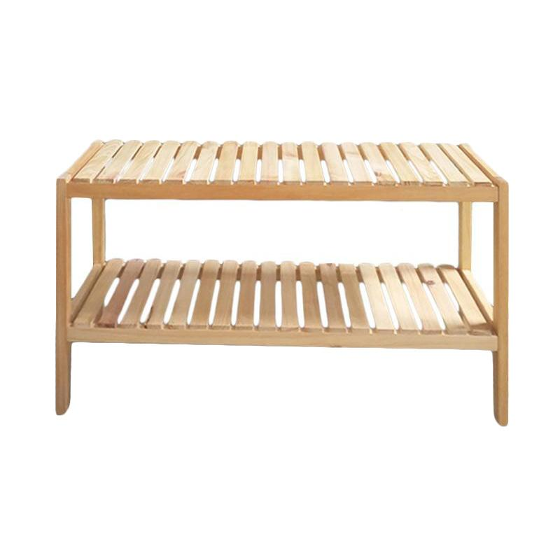 The Olive House 2T Hardwood Bench Rack - Natural