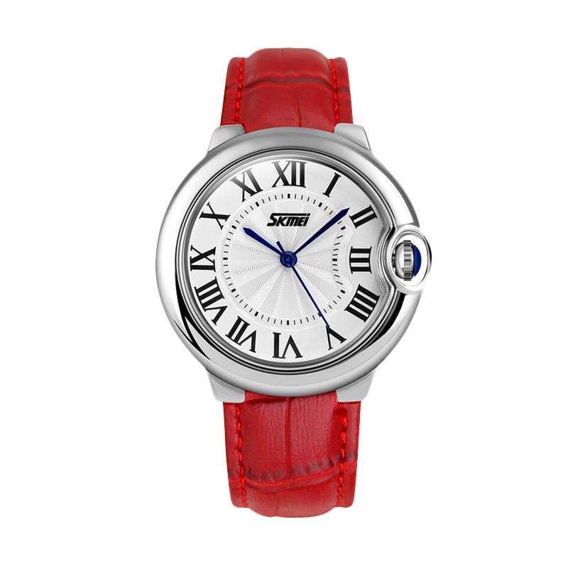 Skmei - Jam Tangan Wanita - Red - Leather Strap - 9088-A