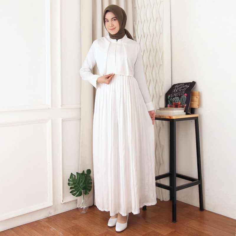 Jual Gamis Hana Gamis Wanita Terbaru Gamis Putih Gamis Rok Plisket Online Februari 2021 Blibli