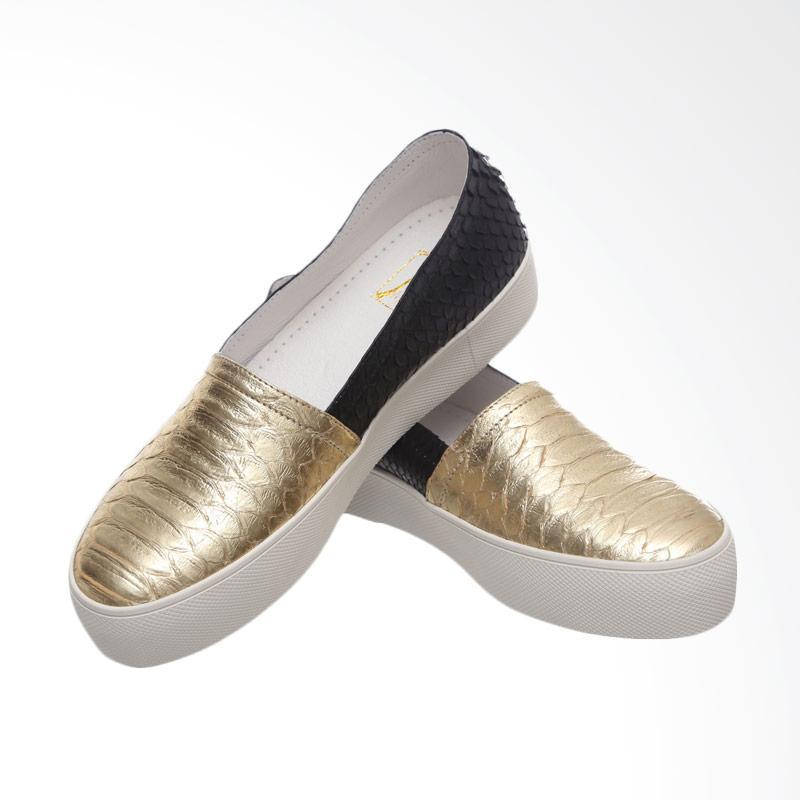 harga Marnova Flat Slip On Vallerie Sepatu Wanita - Gold Mix Black Blibli.com