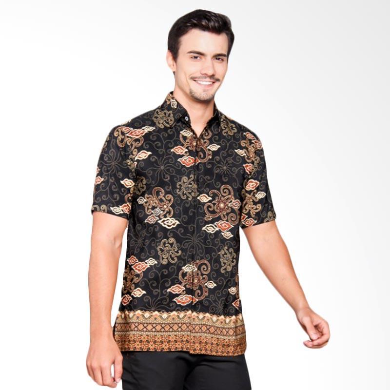 Batik Heritage Royal Peach Mega Mendung Ekor Slim Fit Atasan Pria - Hitam
