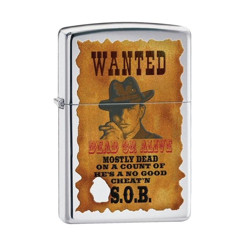 Zippo Brushed Chrome Wanted Poster Lighter