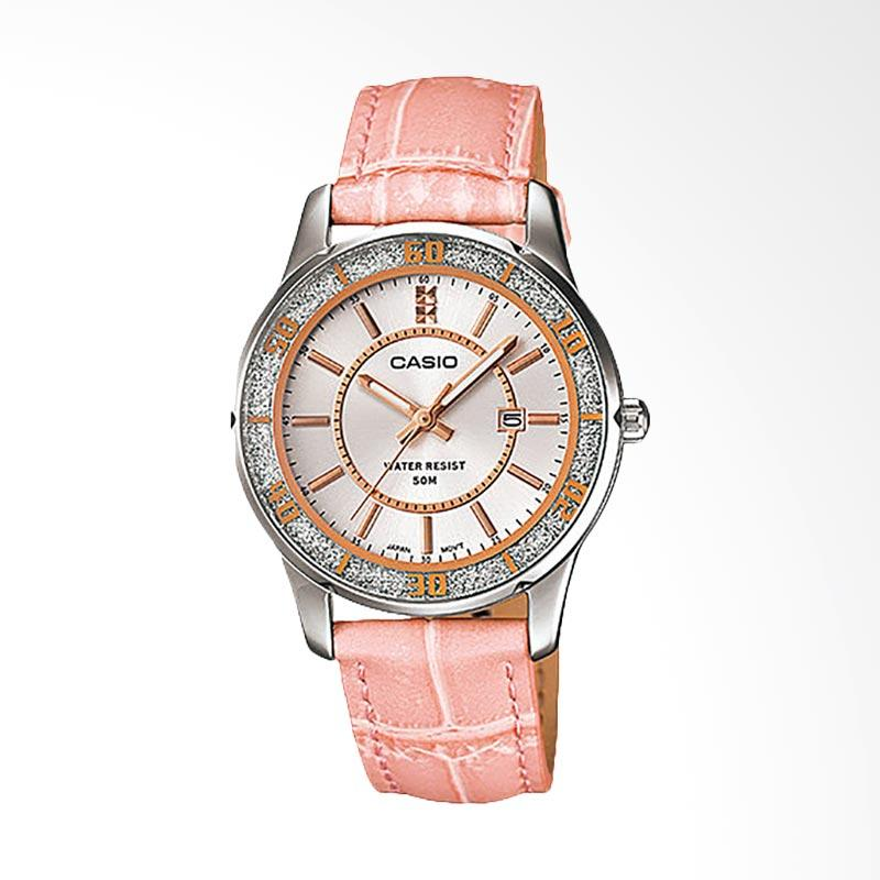 CASIO LTP-1358L-4AVDF Enticer Dial Ion Plated Leather Ladies Jam Tangan Wanita - Pink
