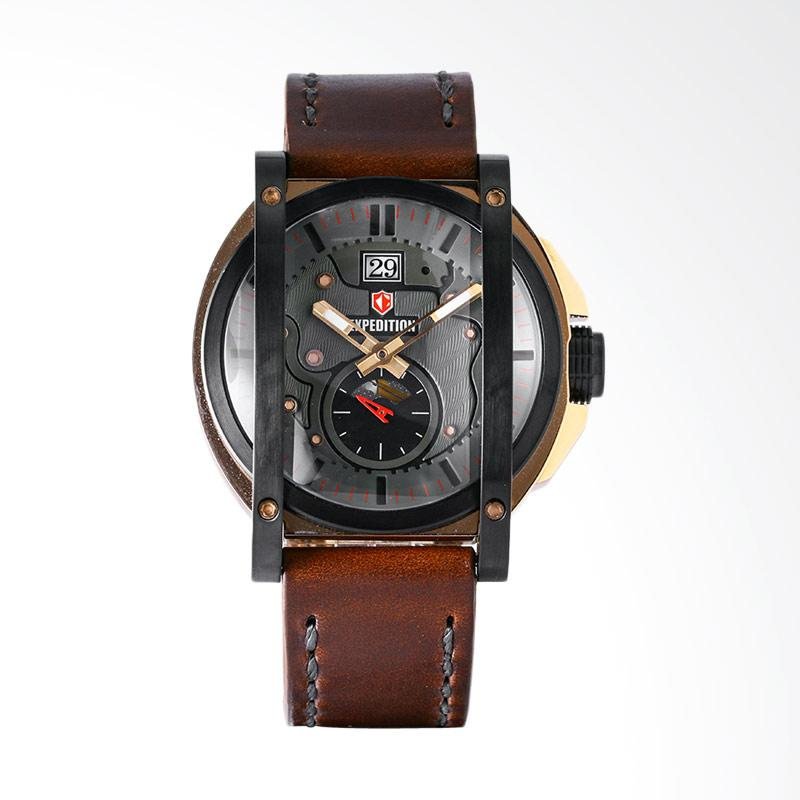 Expedition EXF-6725-MSLBRBA Man Gray Dial Stainless Steel Case Leather Strap Jam Tangan Pria - Brown