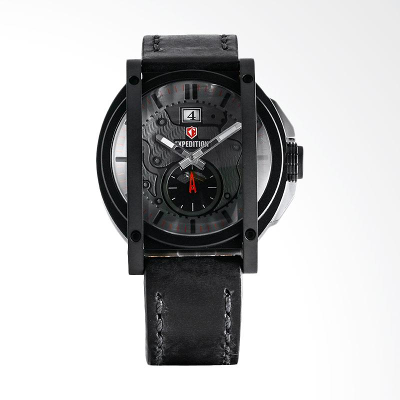 Expedition Man Gray Dial Stainless Steel Case Leather Strap Jam Tangan Pria - Black EXF-6725-MSLIPBARE