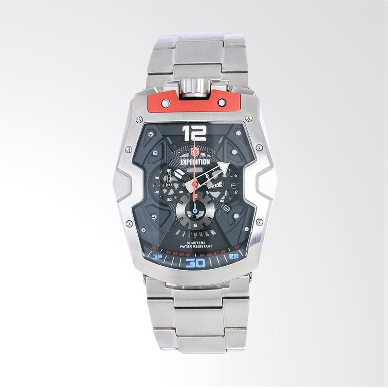 Expedition Man Chronograph Skeleton Dial Stainless Steel Jam Tangan Pria - Silver EXF-6733-MCBSSBARE