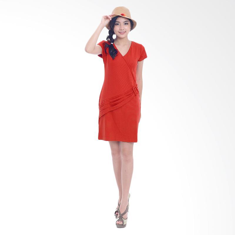 harga Jfashion Midi Bodycon Dress Tangan Pendek Gaya Korea - Quinn Merah Blibli.com