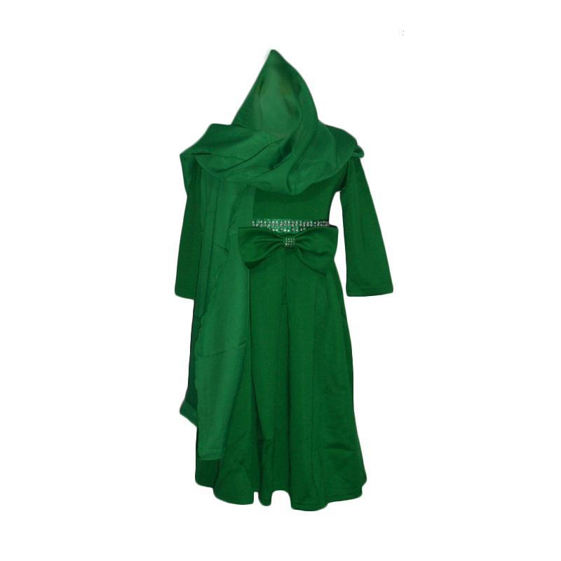 VERINA BABY Gamis L-nice Plus Jilbab Setelan Baju Muslilm Anak - Hijau