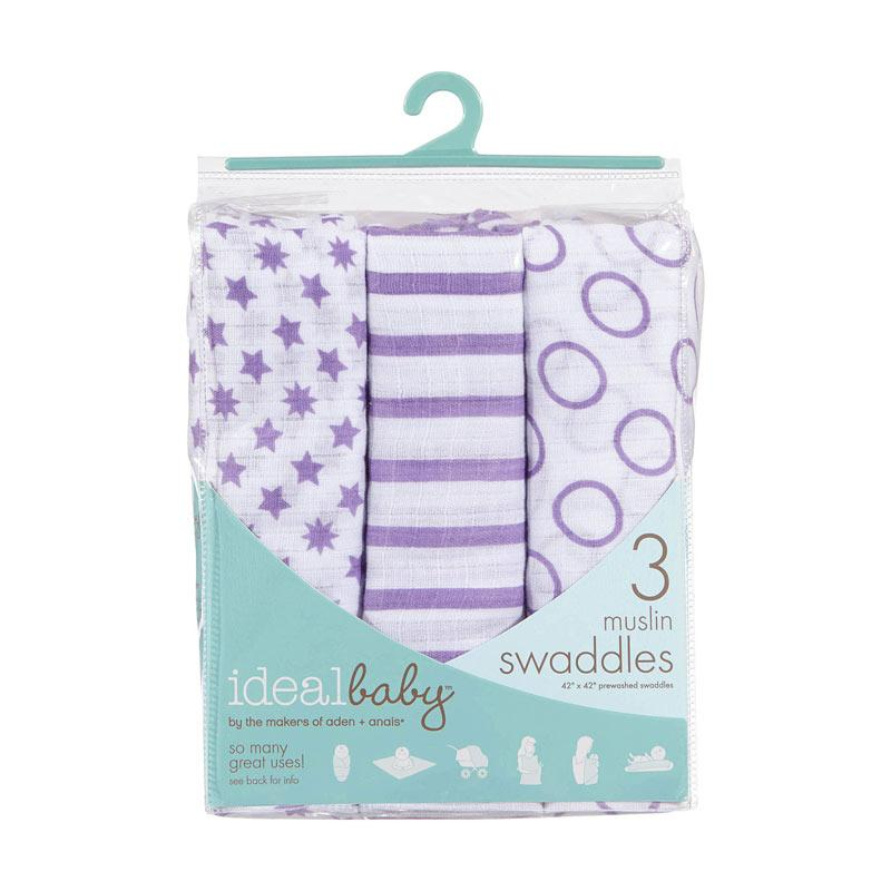 Ideal Baby - 3-pack Muslin Swaddles - Cherub - Kain Bedong Bayi dan Anak