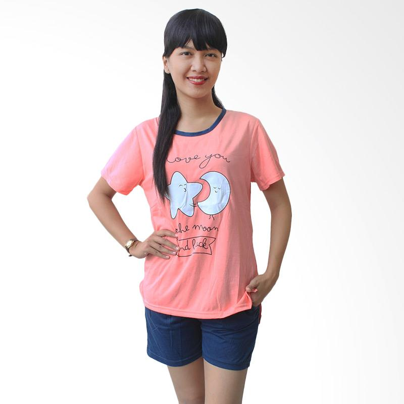 Aily 526 Setelan Baju Tidur Wanita I Love You To The Moon And Back - Pink
