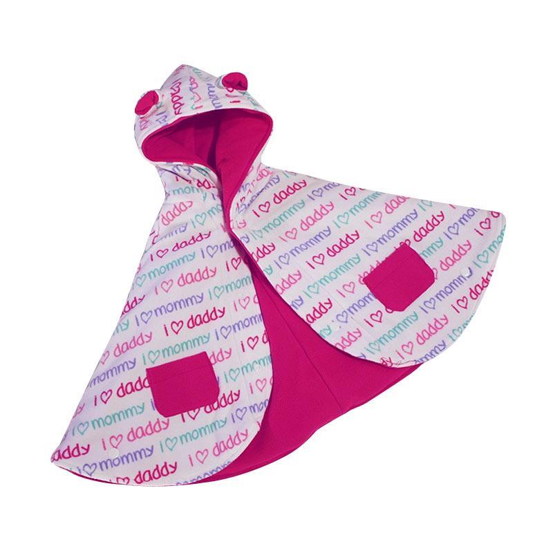 Bibbo.in Babycape Bibbo Love Daddy Mommy Pink Jaket Selimut Bayi