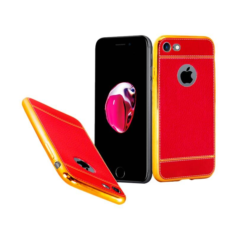Luxury Leather Chrome Softcase Casing for iPhone 7 - Red