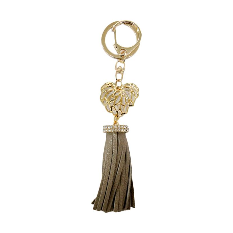 SIV Key Chain Leather Kulit S plus Diamond Gantungan Kunci - Coklat [KSL06] Brown