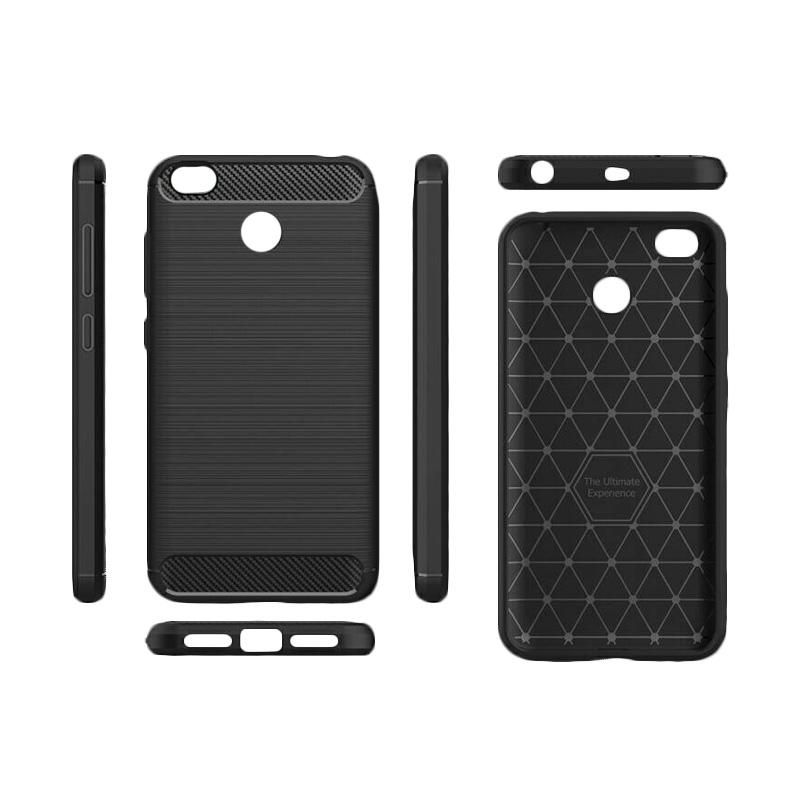 iPaky Carbon Fiber Shockproof Hybrid Casing for Xiaomi Redmi 4X - Hitam