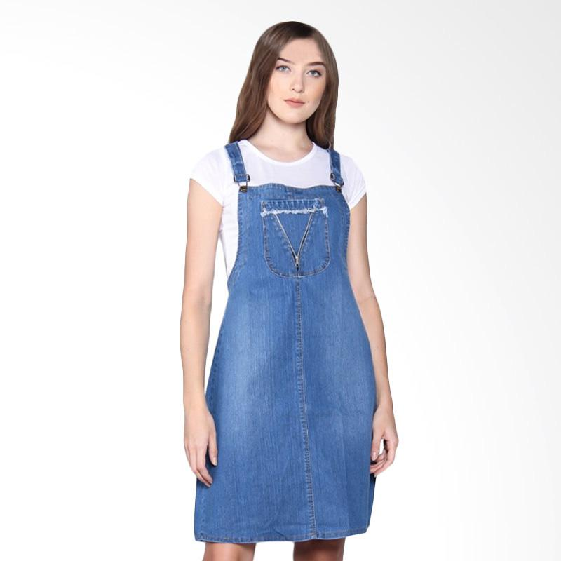 Miracle Online Shop Triani Overall Jeans Dress Pendek Jumpsuit - Biru Muda