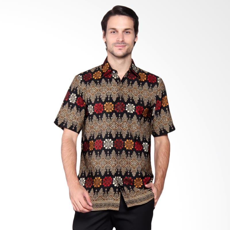 Batik Heritage Royal Peach Ulos Slim Fit Batik Pria - Hitam