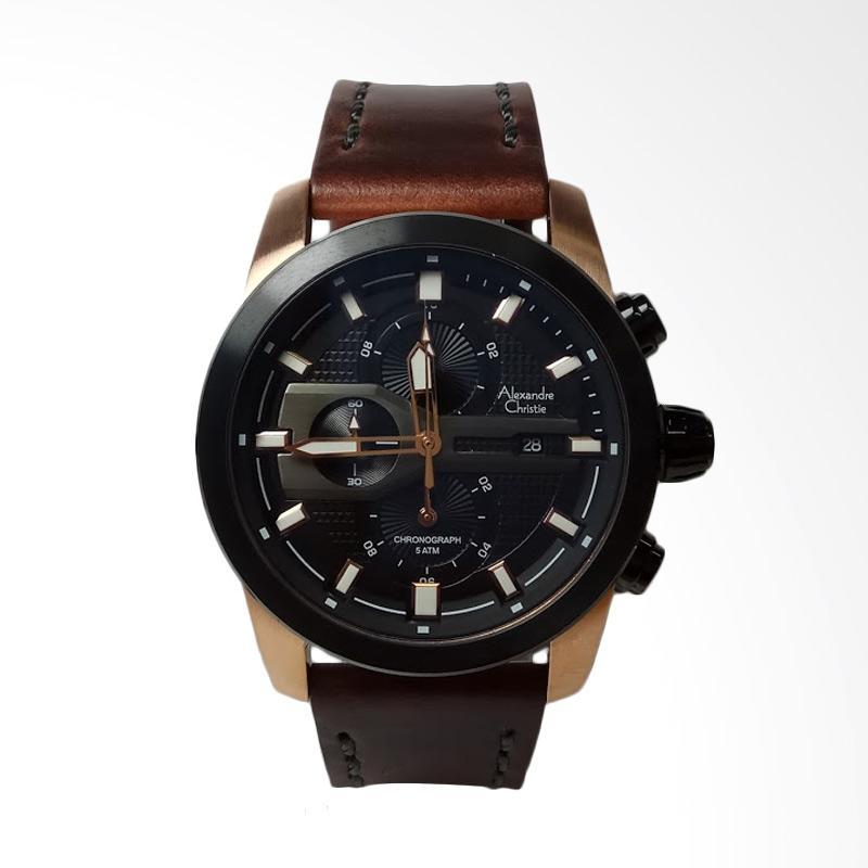 Alexandre Christie Stainless Steel Leather Chronograph Jam Tangan Pria - Black Rosegold AC6270MC