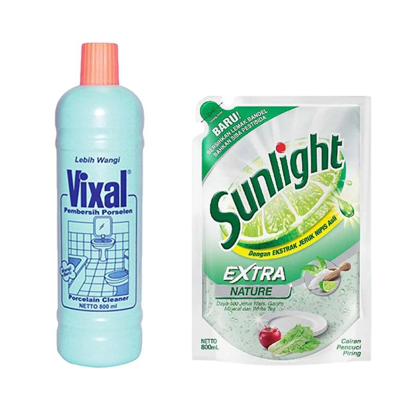 SUNLIGHT Extra Nature Refill Cairan Pencuci Piring [800 mL] dan Vixal Hijau Lebih Wangi Cairan Pembersih Porselen Botol [800 mL]