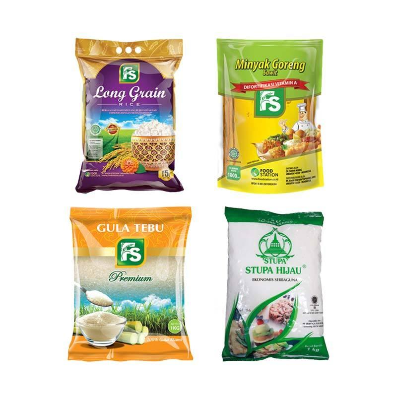 FS Paket Sembako B [FS Beras Long Grain 5 L + FS Gula Pasir Kuning Premium 1 Kg + Tepung Cap Stupa Hijau 1 Kg + FS Minyak Goreng Super 1.8 L]
