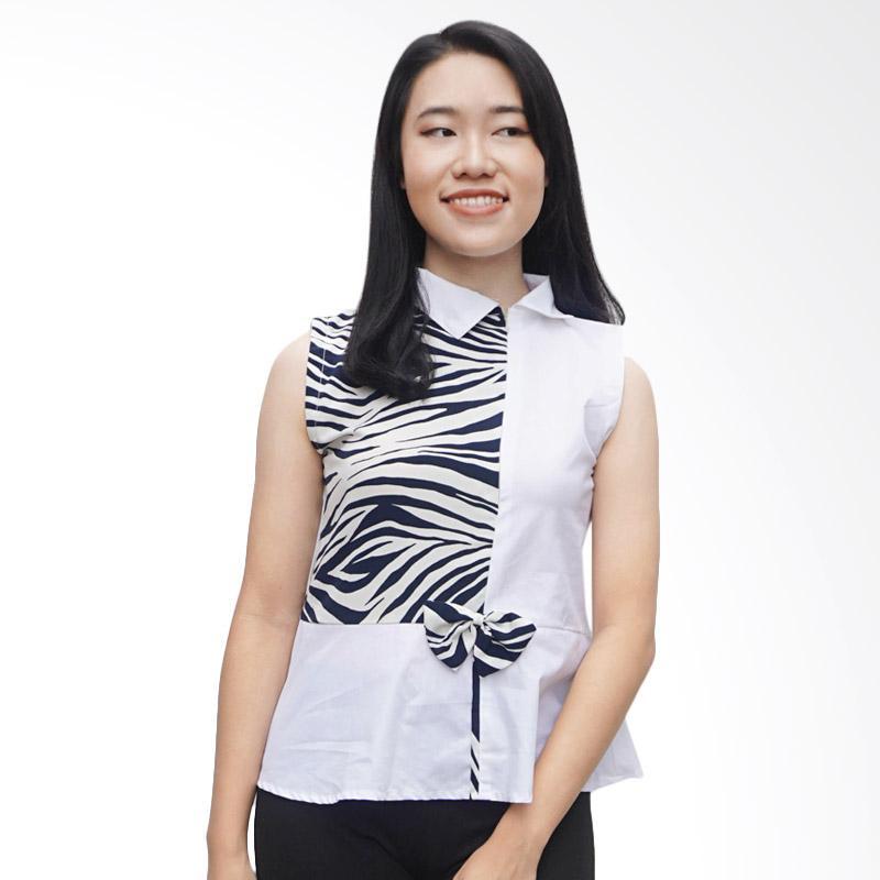 Kulo Zebra Ribbon Qipao Blouse